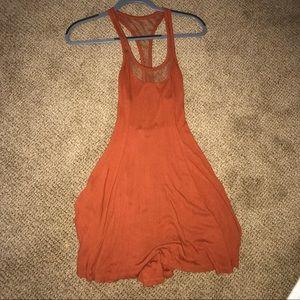 Burnt orange dress with mesh detailing
